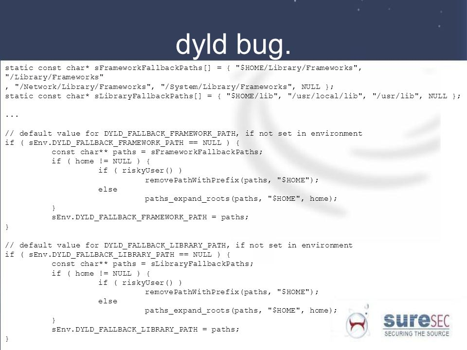 dyld bug. static const char* sFrameworkFallbackPaths[] = { $HOME/Library/Frameworks , /Library/Frameworks